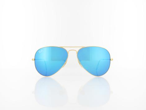 Ray Ban | Aviator Large Metal RB3025 112/17 58 | matte gold / crystal green blue mirror